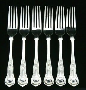 6-HEAVY-VINTAGE-SILVER-PLATED-KINGS-PATTERN-DINNER-TABLE-FORKS-8-25-034-SHEFFIELD