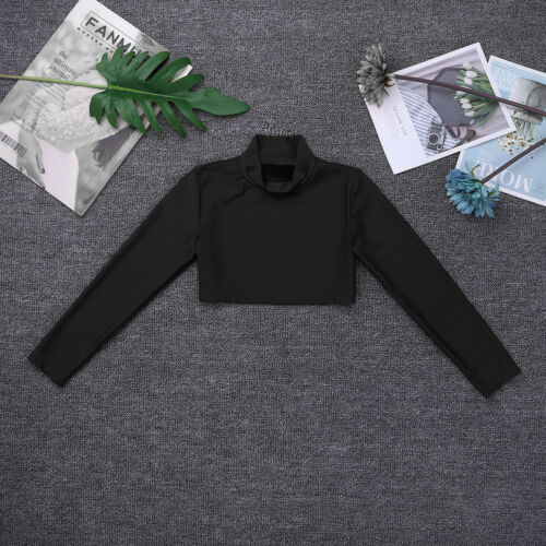 Kid Girl Turtleneck Crop Top Ballet Gymnastic Long Sleeve Shirt Blouse Dancewear