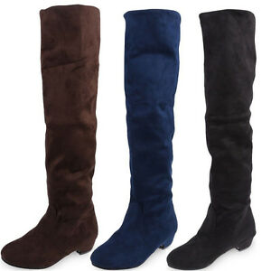 New Fashion Ladies Flat Low Heel Over The Knee Thigh High Stretch ...