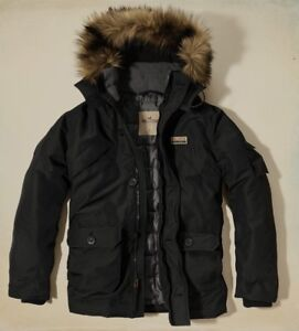 Details about New Hollister Men Doheney Removable Faux Fur Hooded Parka Jacket Coat Black M