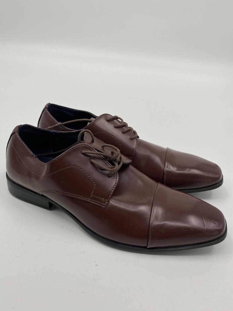 New Joseph Abboud mens Oxfords brown burgundy leather Sz 9.5 cap toe A-76