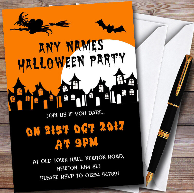 Scary Haunted Houses Personalised Halloween Party Invitations