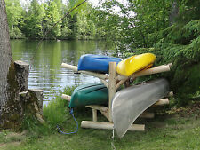 4-place, Free Standing, Cedar Log Kayak and Canoe Rack, Unfinished By Hitch