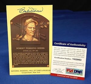 Bobby Doerr Signed Plaque of Robert Pershing Doerr Card - PSA/DNA # V62063