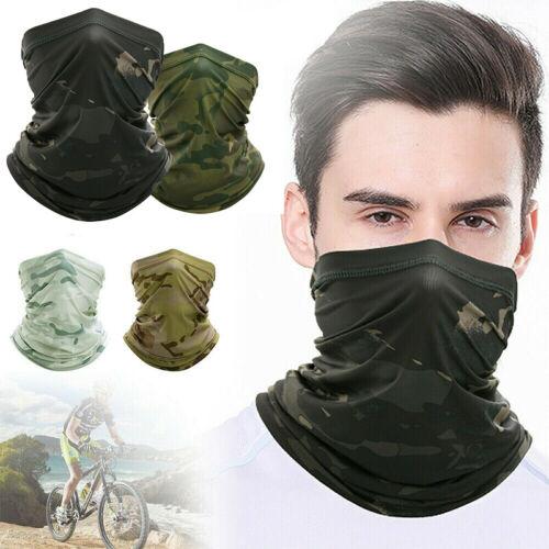 Camo Neck Gaiter Balaclava Bandana Headwear Cooling Face Cover Scarf Ice Silk
