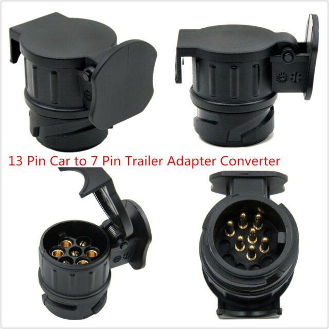 Black 13 Pin Socket Euro Car to 7 Pin Trailer Adapter Converter Caravan Tow Bar