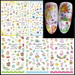 Adesivi-unghie-coniglietti-uova-EASTER-PASQUA-tattoo-decals-nail-art-3D-Stickers