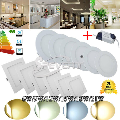 6W/9W/12W/15W/18W/21W Bright CREE LED Recessed Ceiling Panel Down Lights Bulb
