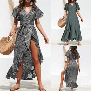Zanzea-Damen-Urlaub-Wrap-V-Ausschnitt-Strandkleid-Polka-Dot-Split-Party-Maxi-Kleider