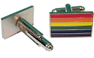 LGBT Rainbow Pride Lesbian Gay Bisexual Transgender Flag Metal Enamel Cufflinks
