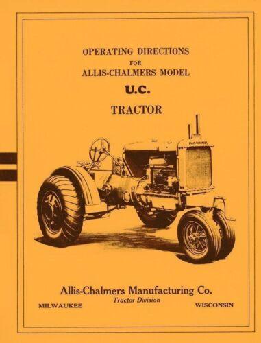 Allis Chalmers Model UC U-C Tractor Operator Manual AC