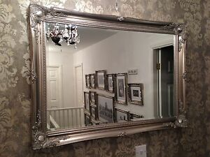 X Large Antique Silver Shabby Chic Ornate Decorative Wall Mirror Save S Ebay