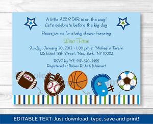 Detalles De Deportes Fútbol De Béisbol Fútbol Imprimible Baby Shower Invitaciones Editables Pdf Ver Título Original