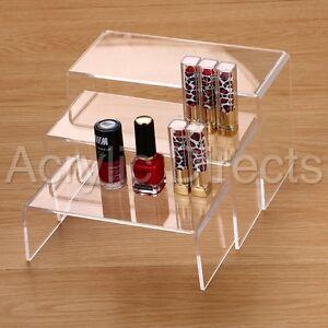 3pcs x Nesting Plinths Acrylic Jewellery Display Stands Retail Shop Bridge Riser