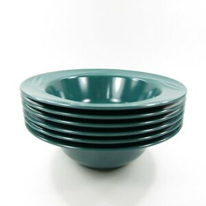 Set-of-6-Rubbermaid-Soup-Cereal-Bowl-with-Rim-GREEN-Melamine-Melmac-3896