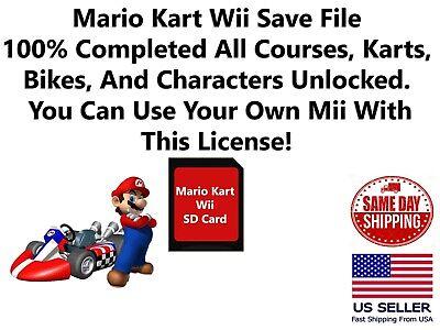 Mario Kart Wii Unlocked Nintendo Wii Sd Memory Card Save File Ebay