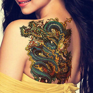 Cool Tribal Japanese Temporary Dragon Tattoos Chinese Girl Back Arm