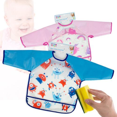 Kids Bib Wipe Clean Baby Coverall Art Smock Feeding Apron Painting Waterproof