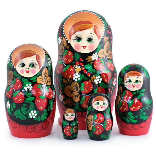 "6/"" 5pc Strawberry Nesting Dolls Russian Doll Matryoshka Hand Painted Khokhloma"