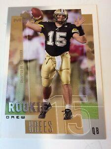 2001 Upper Deck MVP Drew Brees Rookie Card RC #287 Saints Chargers HOF