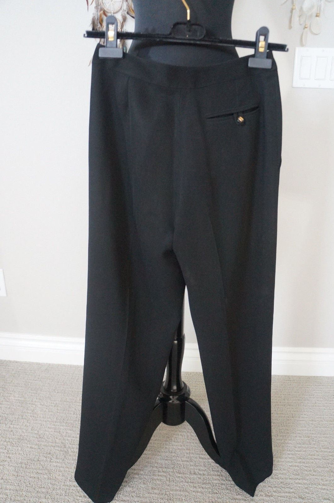 Chanel Vintage Wool Silk Lined Cc Button Highrise Straightleg Pants