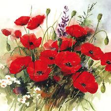 Ambiente Paper Napkins Serviettes Wild Poppies Red Poppy Flower 3 Ply Pk 20