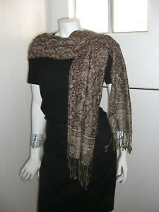 Brown-Floral-Paisley-Shawl-Scarf-Wrap-Warm-Soft-SilkyTouch