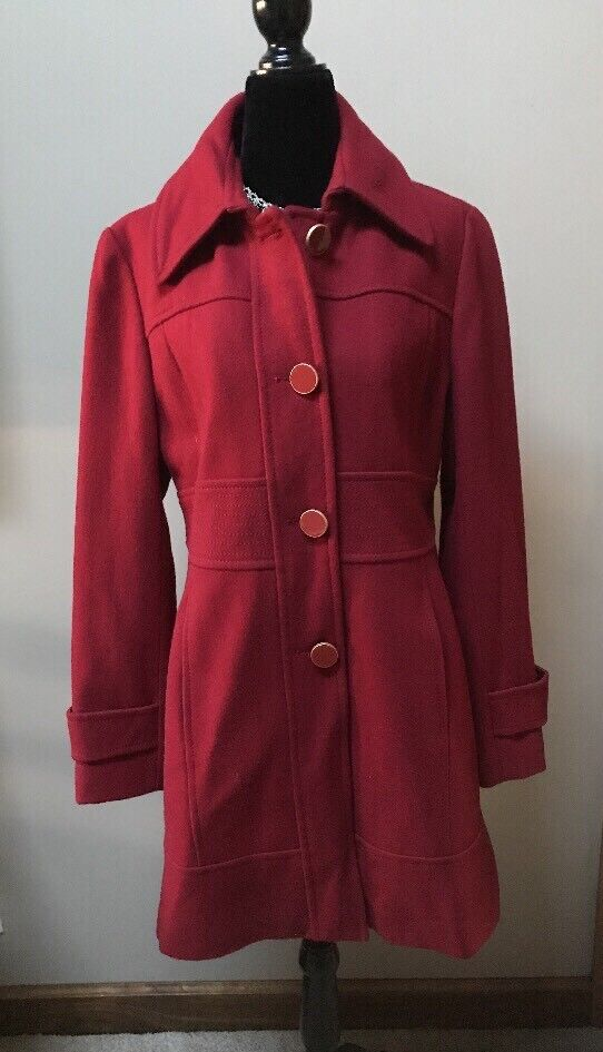 Kenneth Cole Women's Wool Blend Lined Coat - - - Rich Red - Size 12 6d8fca