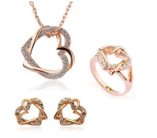 Double Heart Crystal Necklace Earrings Ring Set Rose Gold Fashion Jewellery
