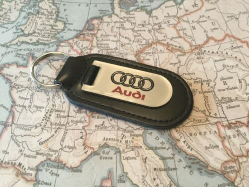 AUDI Black Real Leather Keyring  Printed  CLEAR A 1 2 3 4 5 6 7 8 R Q RS TT 1