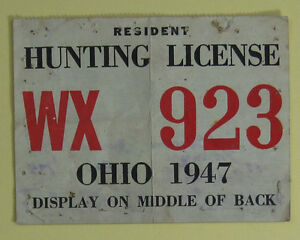 Details about 1947 Resident Ohio Hunting & Trapping License Back Tag     Free Shipping!