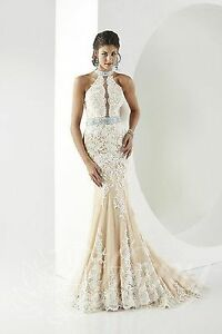 NWT-Size-14-All-lace-halter-style-jeweled-Ivory-Nude-long-formal-with-Train