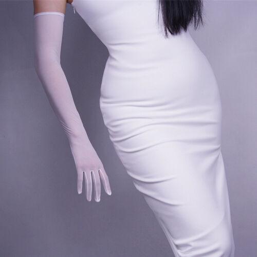 Tulle Long Gloves Stretchy Lace Nylon Black Semi Sheer TECH Touchscreen White
