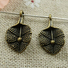 Free Ship 38 pieces Antique bronze leaves charms 38x24mm #896