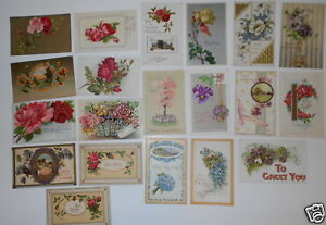 LOT-OF-40-GREETINGS-VINTAGE-POSTCARDS-ROSES-FLOWERS-TO-GREET-YOU-ETC
