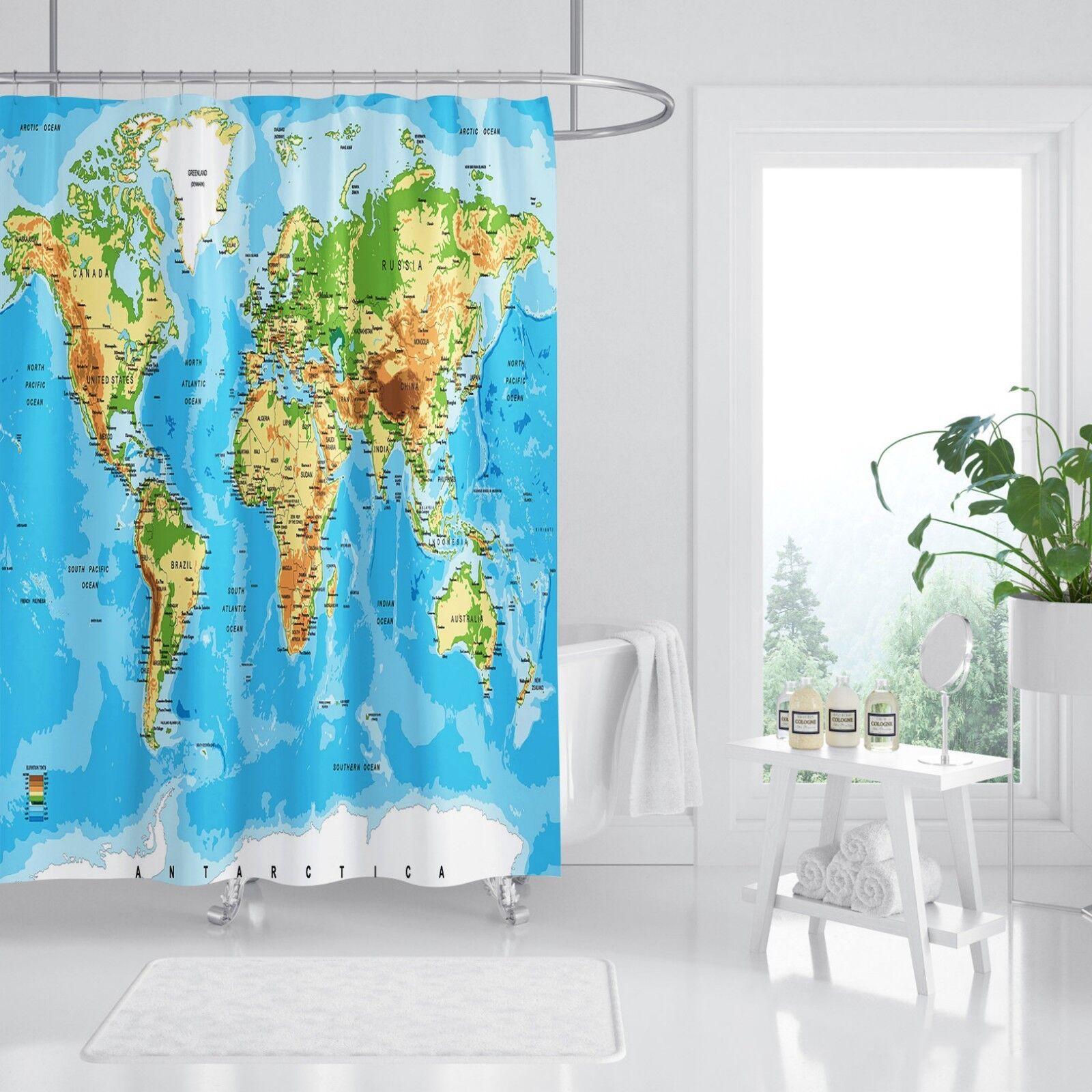 3D World Map Blau 54 Shower Curtain Waterproof Fiber Bathroom Windows Toilet
