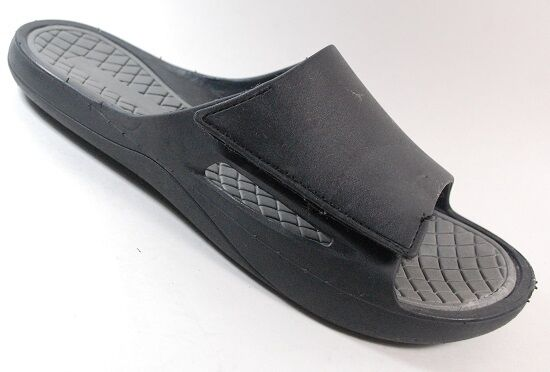 NEW Mens UNBRANDED Black/GRAY Slides Rubber Adjustable Sandals Shoe SZ 12