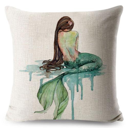 Anime Cartoon Mermaid Pillow Cover Cushion Covers Sofa Living Square Pillow Case