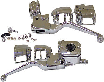 HANDLEBAR HAND CONTROL KIT CHROME SWITCHES HARLEY DYNA FXD SUPER GLIDE LOW RIDER