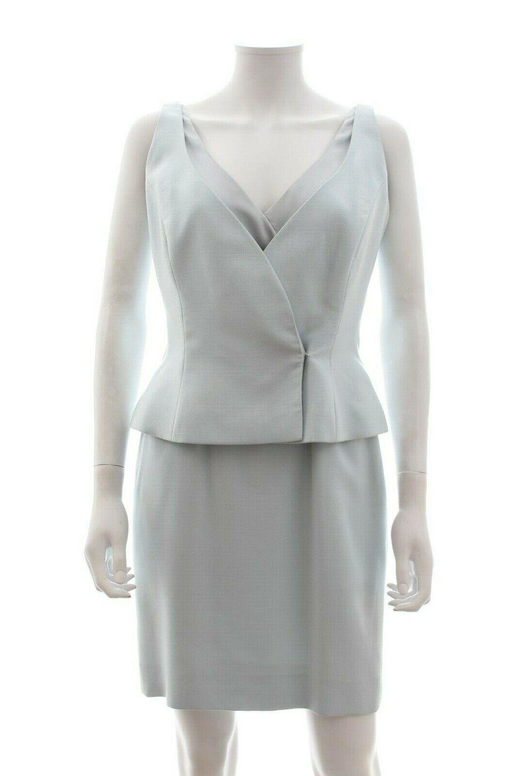 Dior Sleeveless Crepe Peplum Waist Dress   bluee