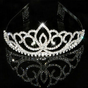 Wedding-Rhinestone-Bridal-Crystal-Hair-Headband-Crown-Prom-Pageant-Comb-N9I2