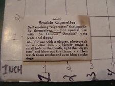 vintage TRICK/GAG/JOKE, 1950's on card: ADAMS' SMOKIE CIGARETTES 1954 sealed
