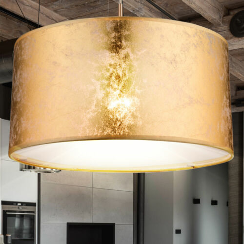 Design Decken Pendel Hänge Lampe Leuchte Textil GOLD Beleuchtung Wohn Ess Zimmer