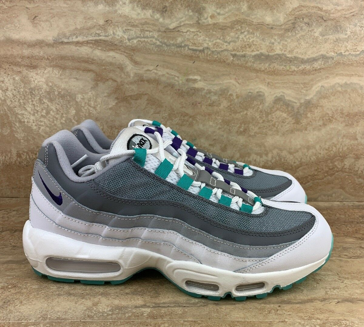 Nike ID Air Max 95  Womens shoes Cool Grey White bluee Sneakers  Size 10.5
