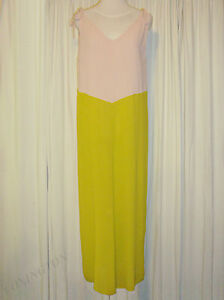 BEAUTIFUL-ANNA-amp-BOY-NUDE-PINK-amp-CHARTREUSE-MAXI-DRESS-size-1-AUS-12-US-6