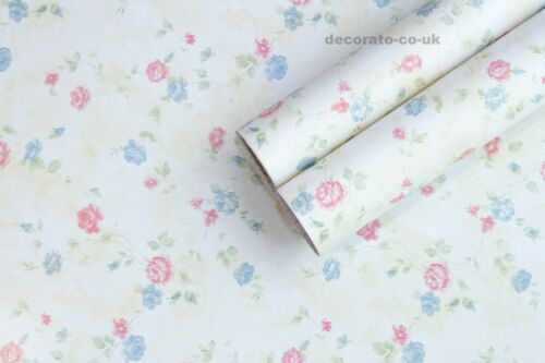 SHABBY CHIC VINTAGE FLORAL STICKY BACK PLASTIC PVC WALLPAPER WORN LOOK COUNTRY