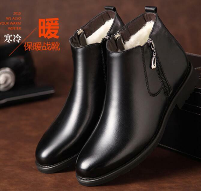 Mens Winter High Top Fur Lined Snow Boots Zip Faux Leather Business Dress shoes