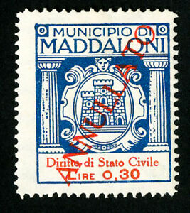 Italy-Maddaloni-Stamps-VF-Red-Overprint-Revenue