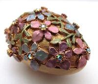 RARE Shelly Cooper Sweet Romance Enamel on Metal Crystal Floral Egg Trinket Box