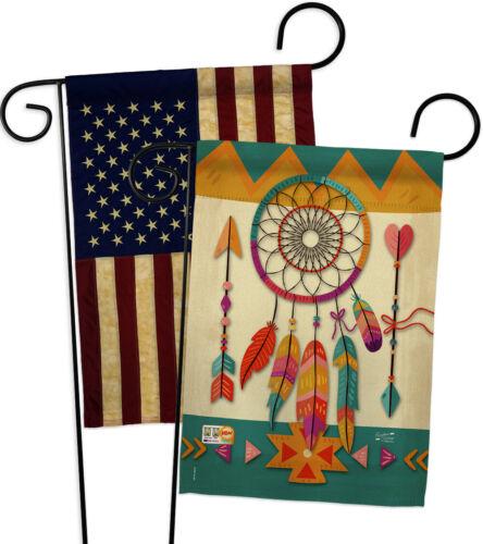 GP137036-BOAA Tribal Dreamcatcher USA Vintage Applique Garden Flags Pack